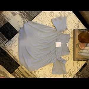 New Lauren Conrad off the shoulder grey blouse